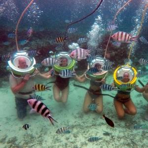 aquaventure marcher sous l'eau famille amis voyage maurice